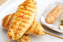 Grilled Chicken Satay Close Up Stock Photo
