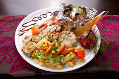Grilled chicken with sauteed vegetables Stock Photo