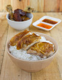 Grilled chicken serve on rice with sauce Royalty Free Stock Images