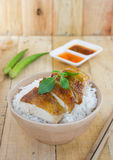Grilled chicken serve on rice with sauce Stock Photography