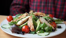 Grilled Chicken Sesame Salad Royalty Free Stock Photos