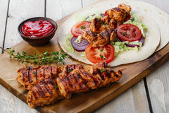 Grilled chicken shawarma Royalty Free Stock Photography