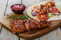 Grilled chicken shawarma Royalty Free Stock Images