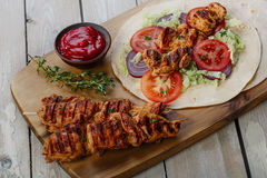 Grilled chicken shawarma Stock Photos