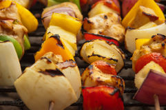 Grilled Chicken shish kebab. Fresh chicken shish kebab with vegetables on the grill Stock Photography