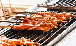 Grilled chicken skewer Stock Photo