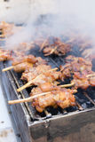 Grilled chicken skewer on charcoal stove , thai street food Royalty Free Stock Images