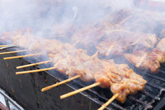Grilled chicken skewer on charcoal stove , thai street food Stock Photography