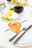 Grilled chicken on Skewer and Red Wine Royalty Free Stock Photography