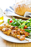 Grilled chicken skewer with salad Royalty Free Stock Image