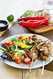 Grilled chicken skewer with salad Stock Photos