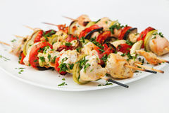 Grilled chicken skewers Stock Images