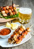 Grilled chicken skewers with cherry tomatoes Royalty Free Stock Images