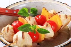 Grilled chicken skewers Stock Photography