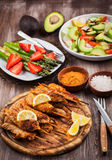 Grilled chicken skewers royalty free stock images
