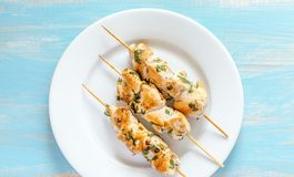 Grilled chicken skewers with herbs Royalty Free Stock Photos