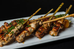 Grilled Chicken on skewers Stock Photos