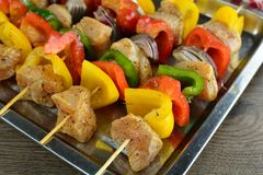 Grilled Chicken Skewers With Vegetables, French Fries And Various Dips - A Set Of Photos Showing An Entire Recipe Preparation Royalty Free Stock Photos