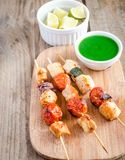 Grilled chicken skewers with zucchini and cherry tomatoes Royalty Free Stock Photo