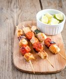 Grilled chicken skewers with zucchini and cherry tomatoes Royalty Free Stock Photography