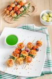 Grilled chicken skewers with zucchini and cherry tomatoes Stock Photos