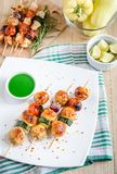 Grilled chicken skewers with zucchini and cherry tomatoes Stock Images