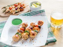 Grilled chicken skewers with zucchini and cherry tomatoes Royalty Free Stock Images