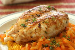 Grilled chicken with some  curry rice Royalty Free Stock Image