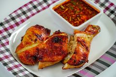 Grilled Chicken and Spicy sauce stock image