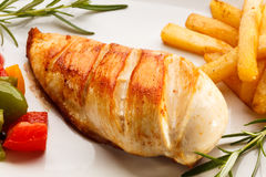 Grilled Chicken Steak And Vegetables Royalty Free Stock Image