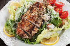 Grilled chicken steak with caesar salad Royalty Free Stock Photo