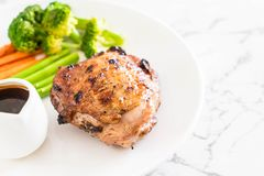 Grilled chicken steak. With vegetable Royalty Free Stock Image