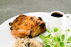 Grilled chicken steak. With vegetable Stock Photos