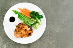 Grilled chicken steak. With vegetable Royalty Free Stock Photo
