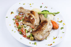 Grilled chicken steak. With stir fried vegetable Stock Photo