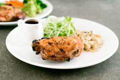 Grilled chicken steak. With vegetable Royalty Free Stock Photos