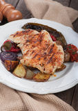 Grilled chicken steak with vegetables Stock Photography