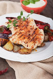 Grilled chicken steak with vegetables Stock Photo