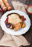 Grilled chicken steak with vegetables Royalty Free Stock Image