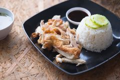 Grilled chicken with steamed rice Royalty Free Stock Images