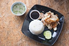 Grilled chicken with steamed rice Royalty Free Stock Photos