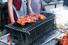 Grilled Chicken Street food in Thai style for sale. Chicken BBQ stock photos