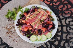 Grilled chicken strip salad with balsamic dressing Stock Photo