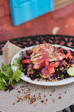 Grilled chicken strip salad with balsamic dressing Royalty Free Stock Photo