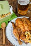 Grilled chicken stuffed with czech beer Stock Photography