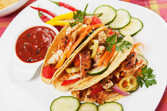 Grilled chicken in taco shells Stock Photos
