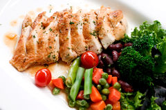 Grilled chicken. With teriyaki sauce and boiled vegetable Royalty Free Stock Photography
