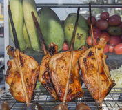 Grilled chicken thai style on display street food shop in thaila Stock Photo