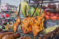 Grilled chicken thai style on display street food shop in thaila Stock Photography