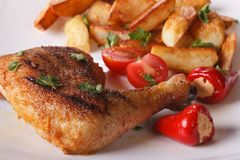 Grilled chicken thighs, fried potatoes and vegetables macro. Royalty Free Stock Image